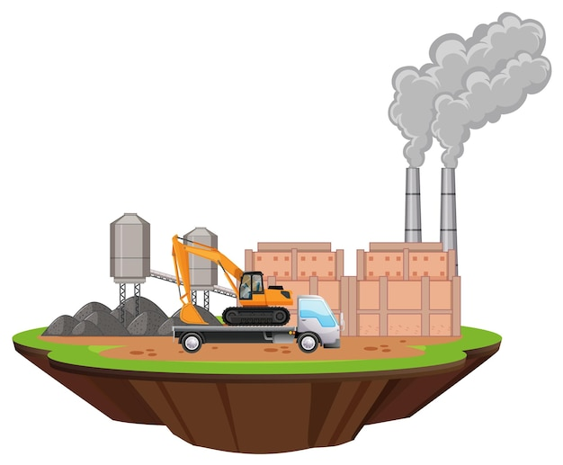 Szene mit fabrikgebäuden und bagger auf dem gelände