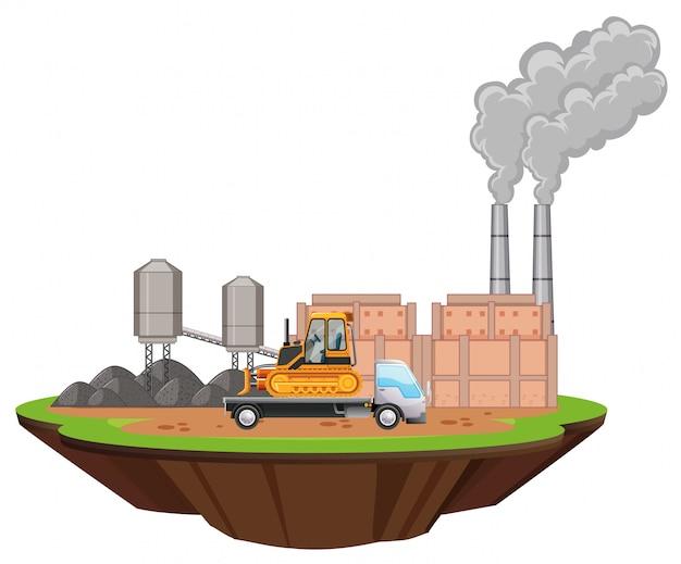 Szene mit fabrikgebäuden und bulldozer auf dem gelände