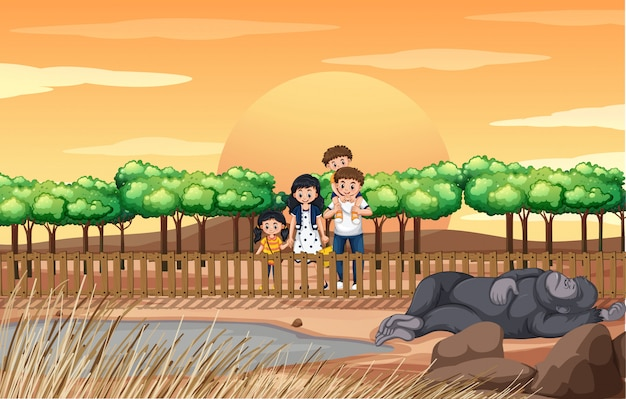 Szene mit familie im zoo