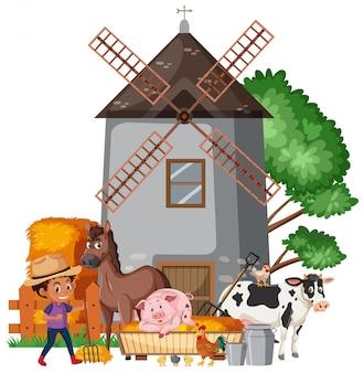 Szene mit farmboy und vielen tieren