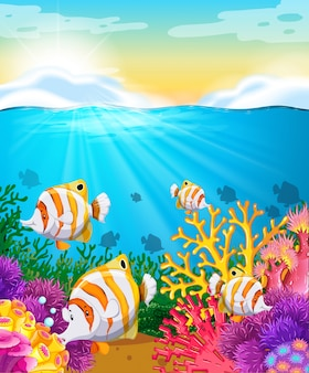 Szene mit fischen unter dem ozean