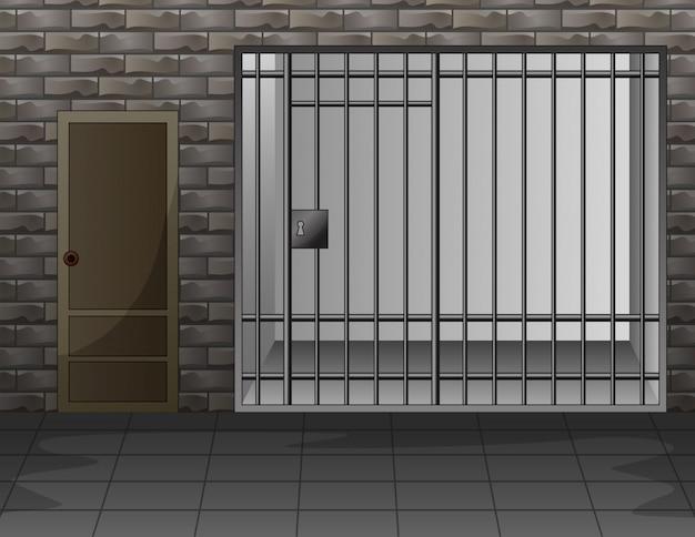 Szene mit gefängnisraum-innenraumillustration