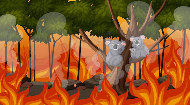 Szene mit großem verheerendem feuer mit dem tier eingeschlossen im wald
