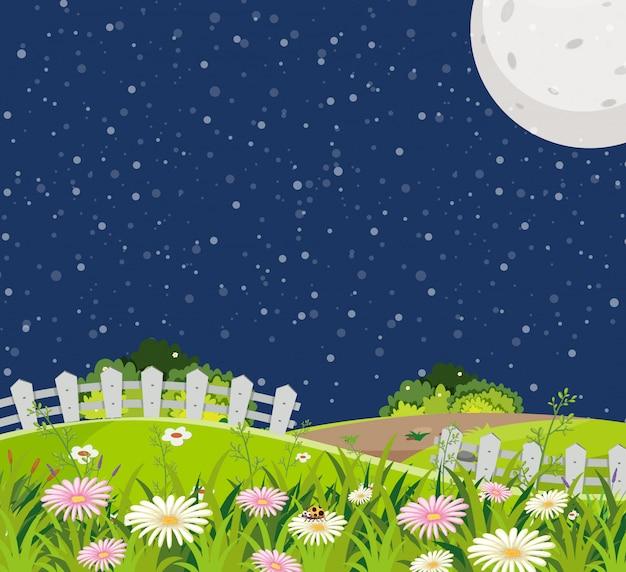 Szene mit grünen hügeln voller blumen in der nacht