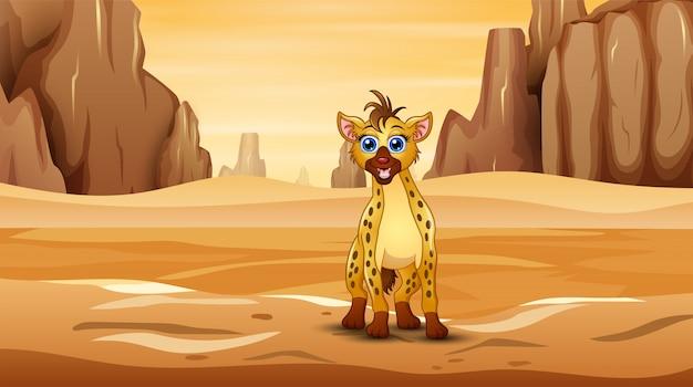 Szene mit hyäne mitten im wüstenfeld