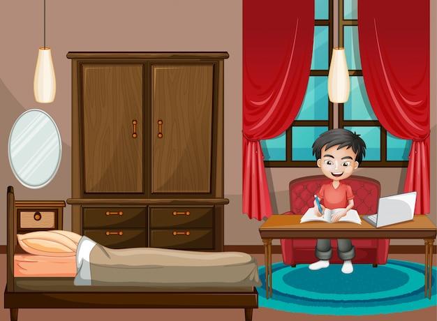 Szene mit jungen, der am computer im schlafzimmer arbeitet