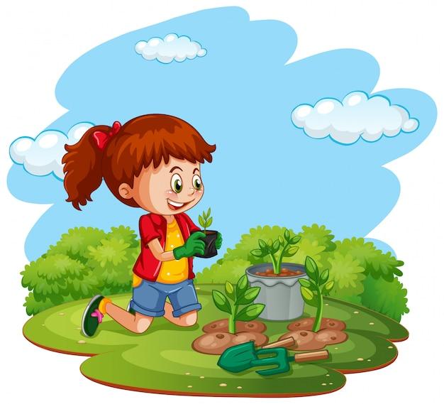 Szene mit kind, das bäume im garten pflanzt