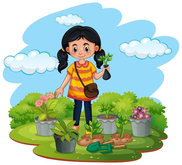 Szene mit kind, das bäume im garten pflanzt Premium Vektoren