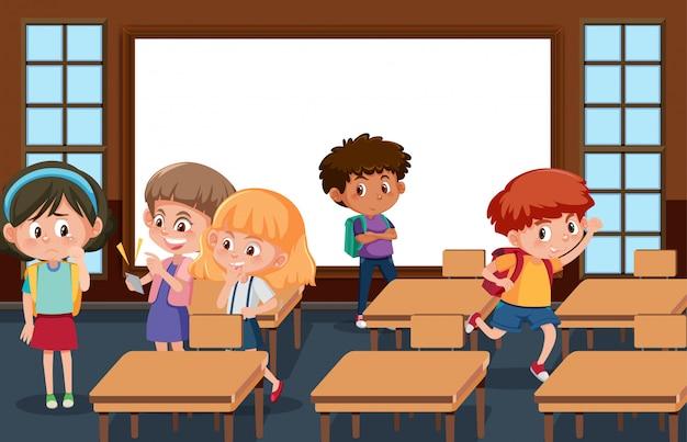 Szene mit kind, das seinen freund im klassenzimmer schikaniert