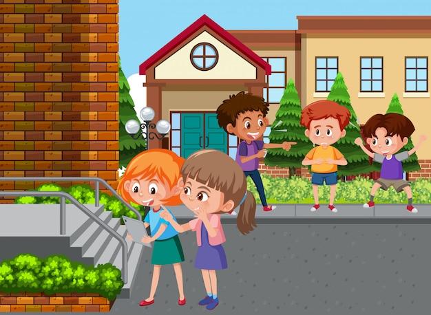 Szene mit kind, das seinen freund in der schule schikaniert