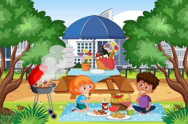 Szene mit kindern beim picknick im park