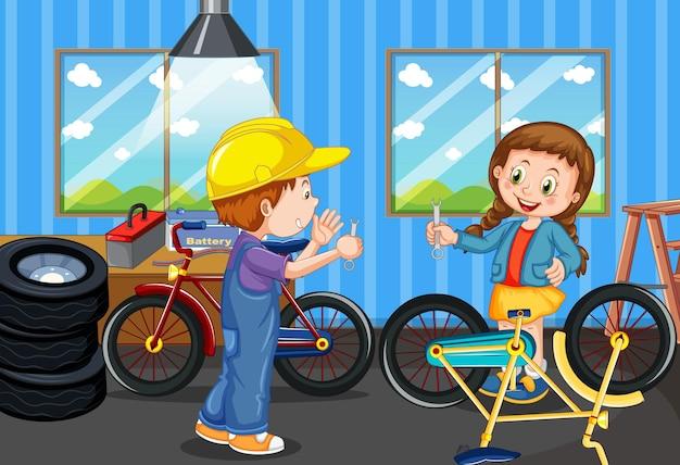 Szene mit kindern, die zusammen fahrrad reparieren