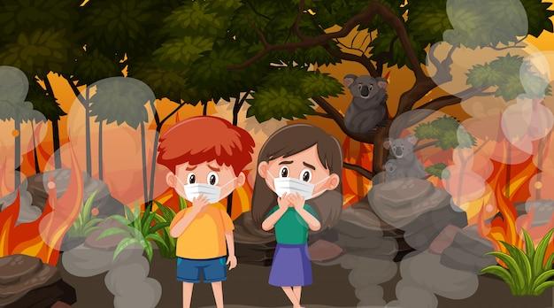Szene mit kindern und tieren im großen lauffeuer
