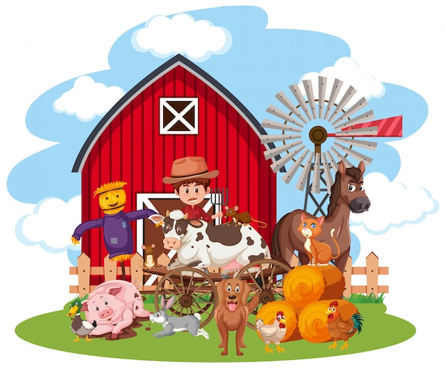 Szene mit landwirt und vielen tieren auf weißem hintergrund