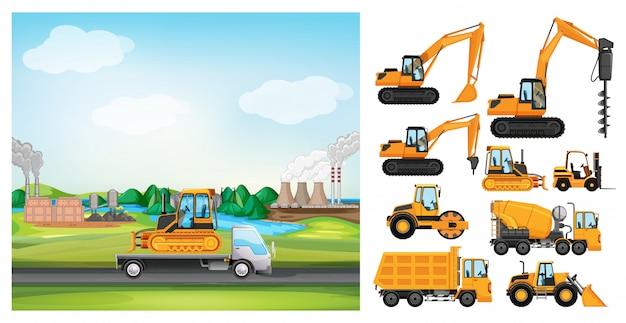 Szene mit lastwagen auf der straße und vielen arten von lastwagen