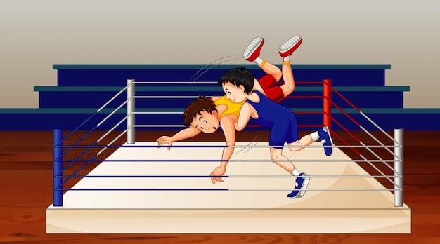 Szene mit leuten, die wrestling im ring machen