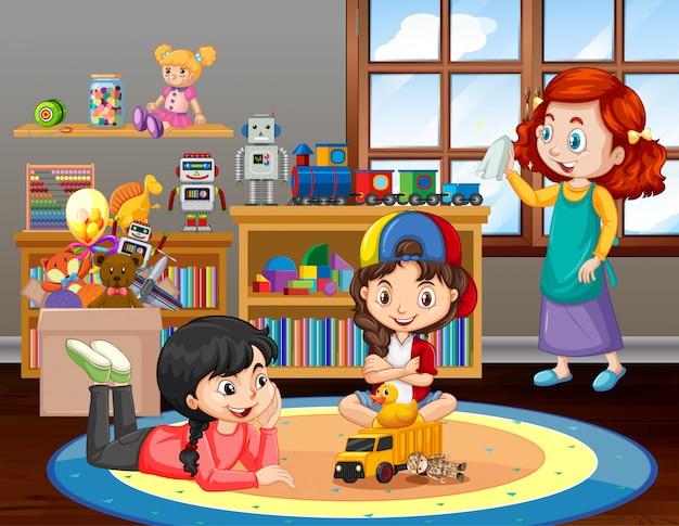 Szene mit mädchen, die zu hause im wohnzimmer spielen