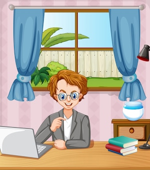 Szene mit mann, der am computer im raum zu hause arbeitet