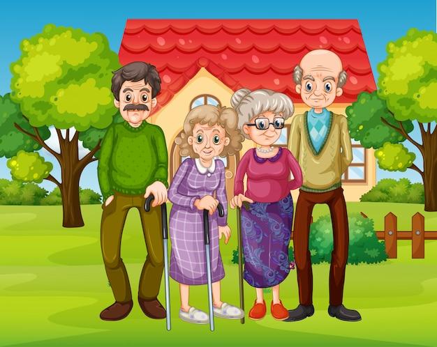 Szene mit menschen in der familie, die zu hause entspannen
