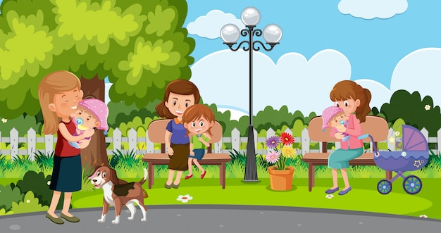 Szene mit müttern und glücklichen kindern im park