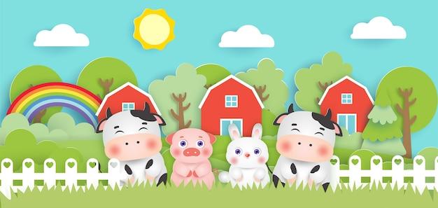 Szene mit niedlichen nutztieren im farmpapierschnittstil.