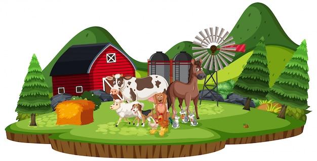 Szene mit nutztieren im ackerland