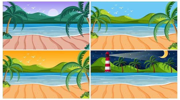 Szene mit ozean zu verschiedenen zeiten