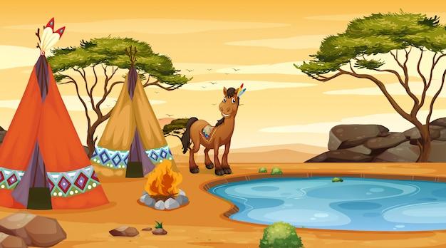 Szene mit pferd und tipi