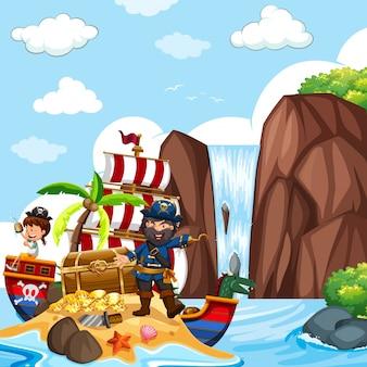 Szene mit piraten und schatzkiste am wasserfall