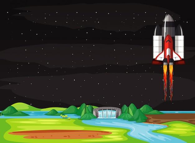 Szene mit raumschiff, das in den himmel fliegt