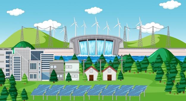Szene mit sauberer energie in der stadt