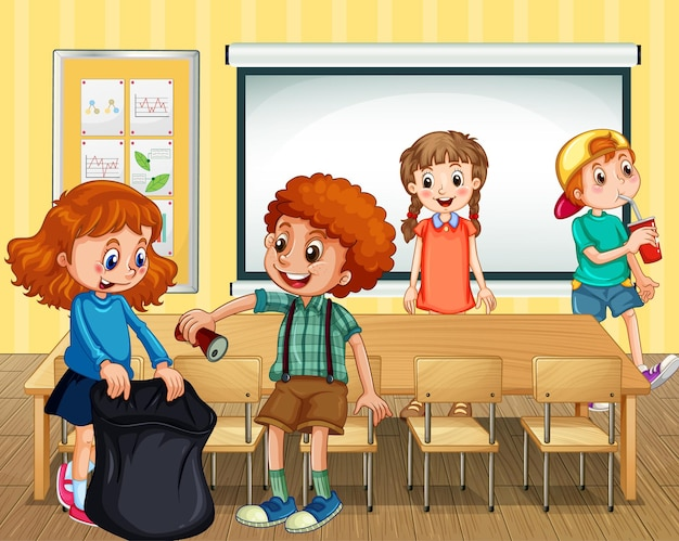 Szene mit schülern, die gemeinsam das klassenzimmer säubern