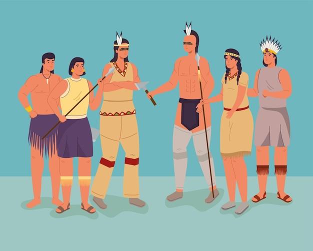 Szene mit sechs ureinwohnern Premium Vektoren