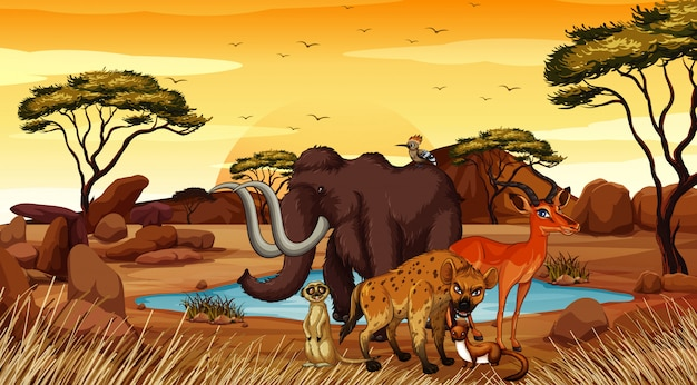 Szene mit tieren auf dem wüstengebiet