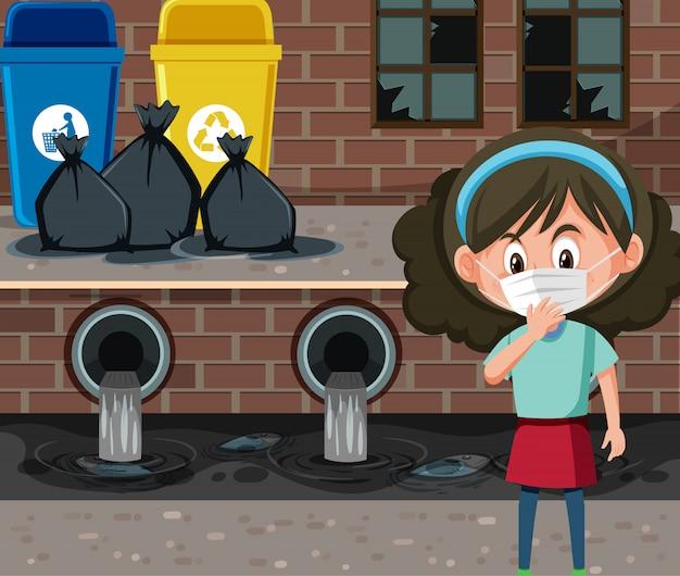 Szene mit tragender maske des mädchens vor dem schmutzwasser
