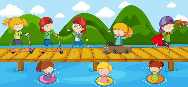 Szene mit vielen gekritzelkinderzeichentrickfilm-figuren auf der brücke, die den fluss überquert