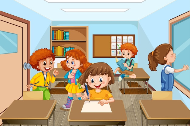 Szene mit vielen kindern, die im klassenzimmer lernen