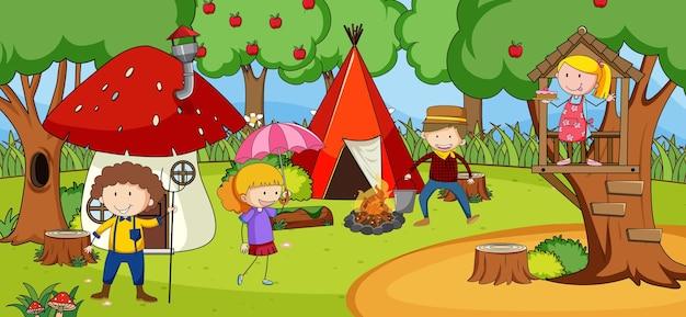 Szene mit vielen kindern kritzelt zeichentrickfigur im naturpark