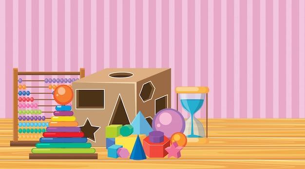 Szene mit vielen spielwaren auf bretterboden