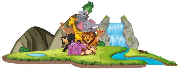 Szene mit vielen wilden tieren am wasserfall auf weiß
