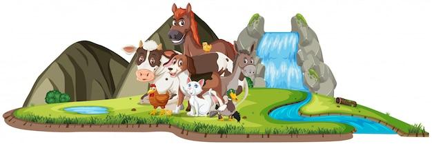 Szene mit vielen wilden tieren am wasserfall