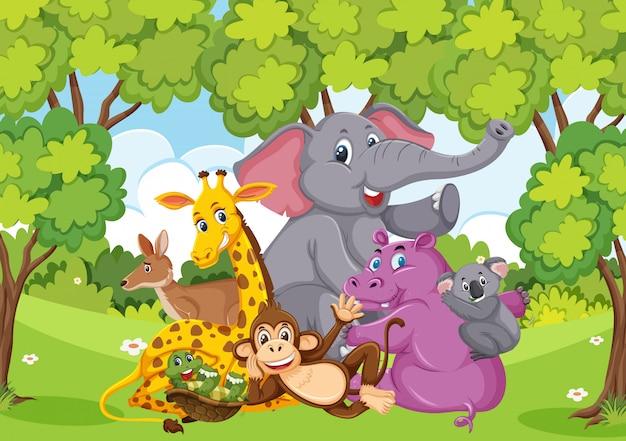 Szene mit vielen wilden tieren im park