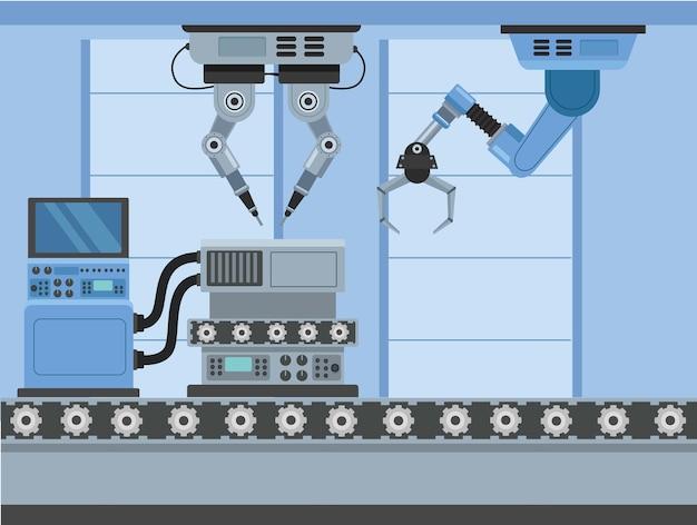 Szene mit vier produktionsmaschinen