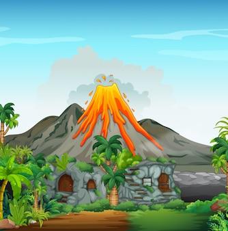 Szene mit vulkan und höhlenhaus