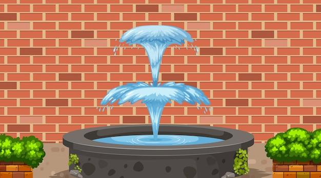 Szene mit wasserbrunnen und backsteinmauer
