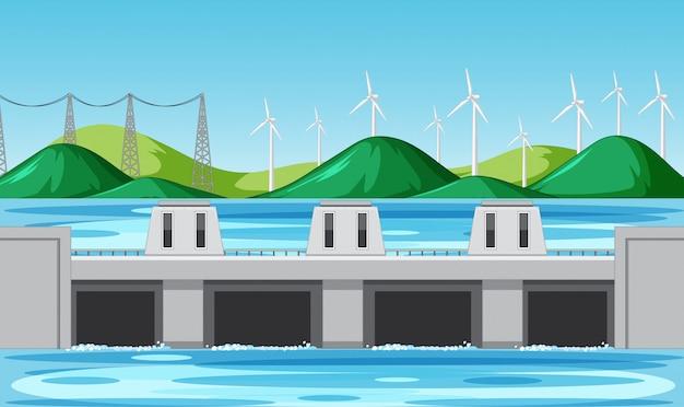 Szene mit wasserdamm und windkraftanlagen auf den hügeln