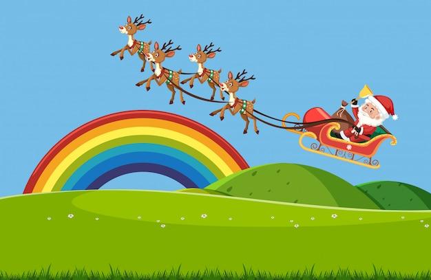 Szene mit weihnachtsmann, der im himmel über dem grünen feld fliegt
