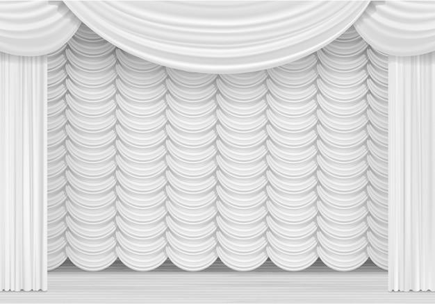 Szene mit weißen vorhängen
