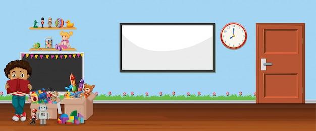Szene mit whiteboard und spielzeug