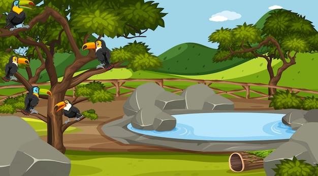 Szene mit wilden tieren im zoo zur tageszeit